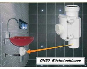 Rückstauverschluß Bad Küche 50 mm Abwasser Rohr  Rückstau Abfluss Version B grau