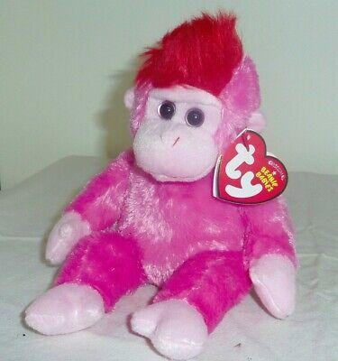 6 inch Ty Beanie Baby ~ CHARMER the Pink Monkey MWMT
