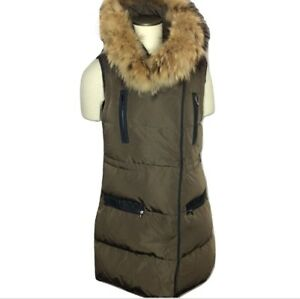 Marni-Quilted-Down-Vest-Brown-Detachable-Raccoon-Fur-Collar-Size-40-Fits-US-4-6