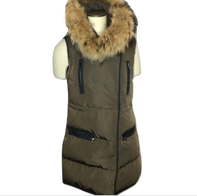 Marni Quilted Down Vest Brown Detachable Raccoon Fur Collar Size 40 Fits US 4-6