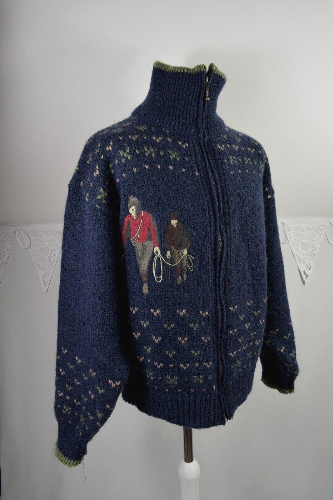 90s SONNETI crofter mills winter tog embroiderot sweater zip cardigan 3 L