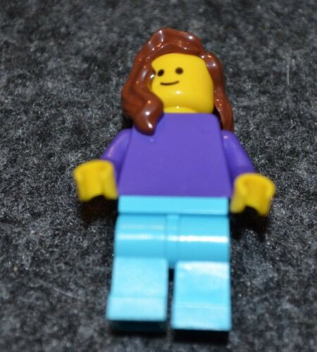 Female w// Brown hair Purple top and Lt Blue Pant ~ NEW City Lego Minifigure Mint