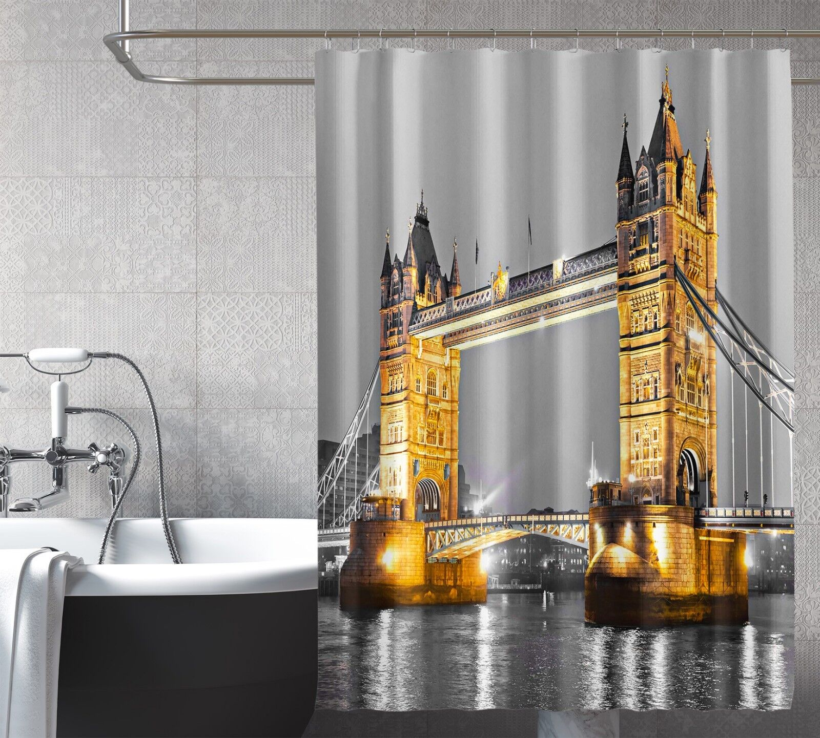 3D London Bridge 77 Shower Curtain Waterproof Fiber Bathroom Home Windows Toilet
