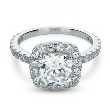 3.25 Ct Cushion Cut Engagement Ring Halo & Accents Lab Diamond in 14K White Gold