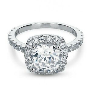 3-25-Ct-Cushion-Cut-Engagement-Ring-Halo-amp-Accents-Lab-Diamond-in-14K-White-Gold