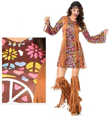 Ladies Hippie Hippy Costume 60s 70s Party Disco Retro Groovy 1960s Fancy Dress
