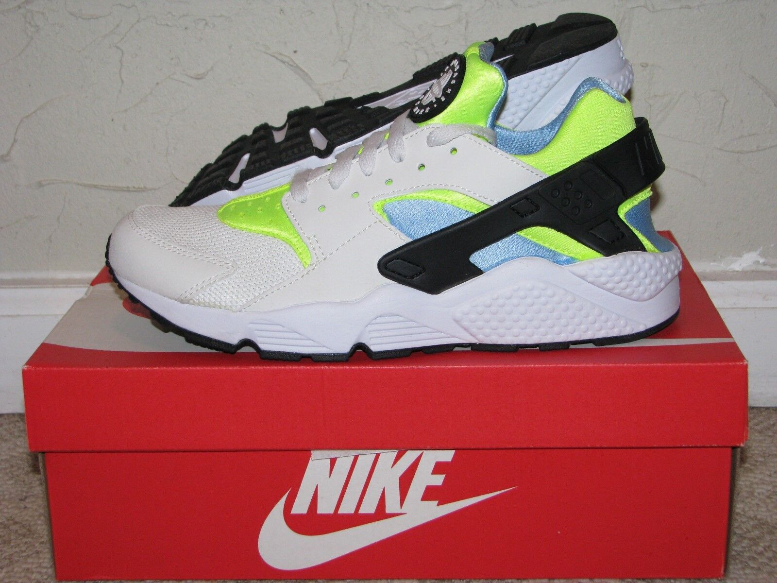 release date 6f207 1ee8a Nike Air Huarache Off White / Volt / Blue Mens Size 10.5 DS NEW! 318429-107