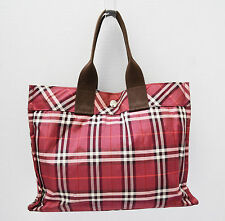 Burberry London Blue Label Handbag Tote Grab Bag Nova Check Designer Maroon Red