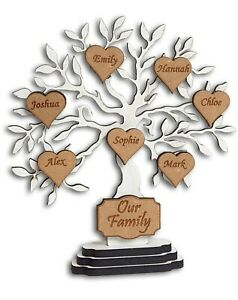 Admirable Details About Personalised Family Tree Freestanding Gift Decoration Shabby Chic Hearts Wedding Home Interior And Landscaping Ponolsignezvosmurscom