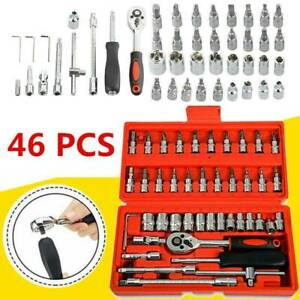 "46 Pcs Socket Wrench Set 1//4/"" Drive Ratchet Metric Kit Garage Car Repair Tools"