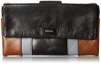 Fossil Ellis Patchwork Clutch Leather Flap Wallet Neutral Multi