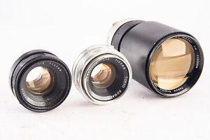 Lot of 3 Vintage Manual Focus UV Topcor Mount Camera Lenses Parts Repair V12