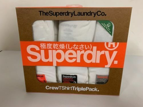 Superdry M31006NR//ZX6 Laundry Slim Tee Organic Cotton T-Shirt Triple Pack White