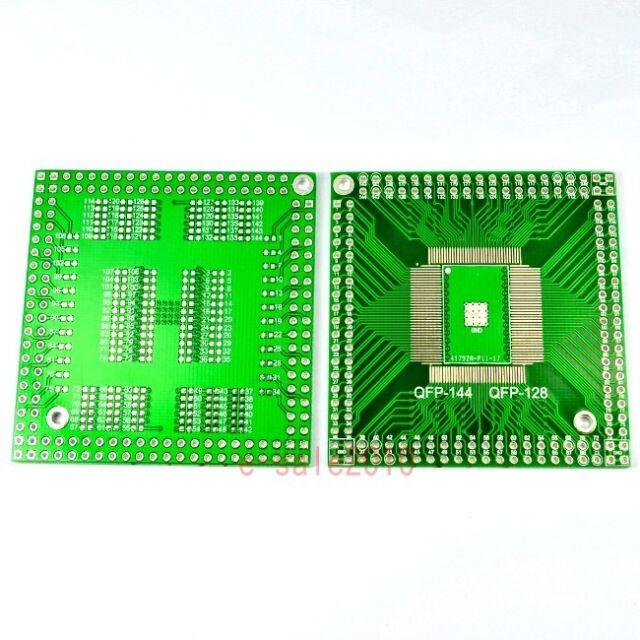2pcs NEW QFP/EQFP/TQFP/LQFP144/128 SMT to DIP Adapter PCB Board Converter F18