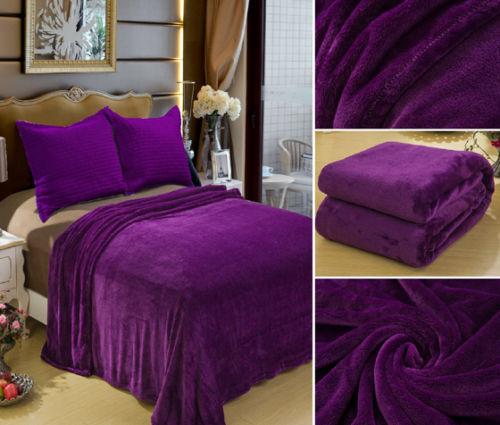 Solid Purple Blanket Bedding Throw Fleece Full Queen Super Soft Warm Great Value