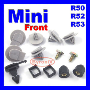 MINI COOPER DOOR WHEEL ARCH COVER CLIPS SIDE SKIRT SILL FASTENERS x10 GREY