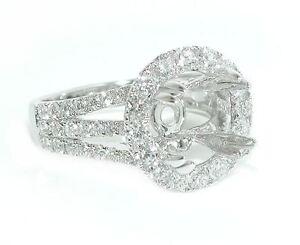 1-5-CT-Large-Round-Halo-Triple-Split-Shank-DIAMOND-Mounting-Ring-Setting-14K-WG