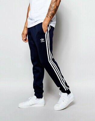 ADIDAS Originals Uomo Superstar con risvolto Pantaloni della tuta retrò casual 3 Strisce Blu Navy | eBay