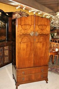 English-Antique-Queen-Anne-2-Doors-amp-2-Drawer-Cabinet-Wardrobe-Armoire