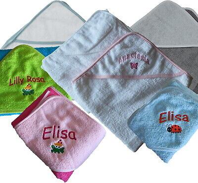 Baby Kapuzen-Handtuch Kapuzentuch Babybadetuch 100x100 bestickt mit Name Datum