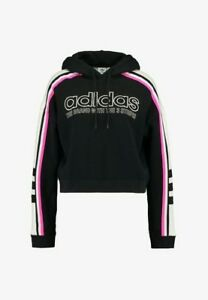 new arrival the best attitude detailed pictures Details about ADIDAS Originals Cropped Hoodie Womens Hooded Sweatshirt  Black Pink White