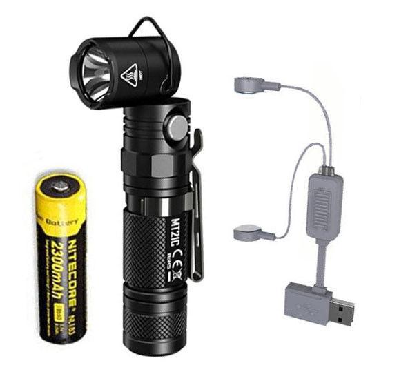 Nitecore MT21C Linterna Ajustable 1000 LM con NL183 Cargador de batería y A1