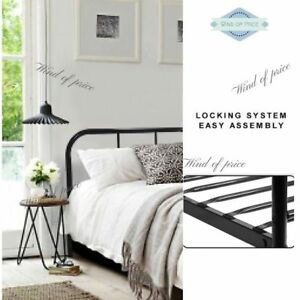 Image Is Loading Queen Size Bed Frame Metal Black Double
