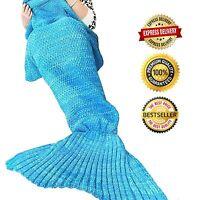 Ohuhu Mermaid Tail Blanket Crochet For Adult Super Soft Sleeping Bags Blue