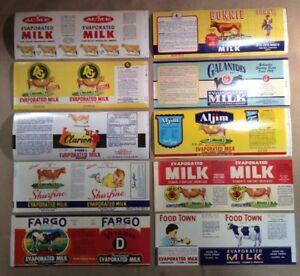 Group 10 Vintage Evaporated Milk Labels Original INV-P0115