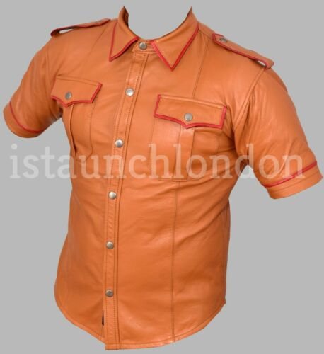 Men Hot Real Genuine Sheep//Lamb TAN Color LEATHER Police Uniform Shirt Bluff Gay