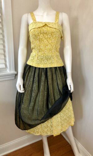 SCARCE VTG 1950s Designer GRETA PLATTRY Yellow Lac