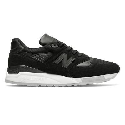 nouveau concept 49ece 73b54 New Balance 998 Black / M998NJ / Men's NB 998 Made in USA Suede Mesh White  | eBay