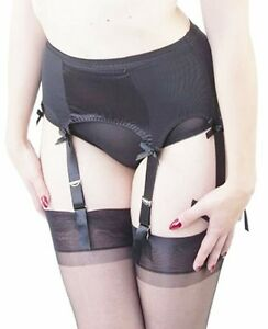 9c8dee827 Bettie Page by Playful Promises Black Satin 6 Strap Garter Suspender ...