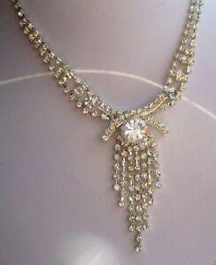 Collier Bijou Vintage Argenté Réglable Pendant Cabochon Cristaux Diamant 744 Technologies SophistiquéEs