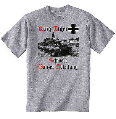 KING TIGER PANZER GERMANY WWII TANK- NEW COTTON GREY TSHIRT- S-M-L-XL-XXL