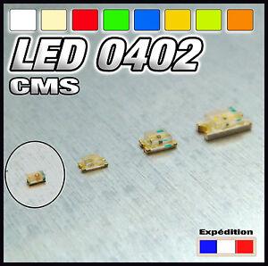 144-LED-CMS-0402-blanc-blanc-chaud-rouge-bleu-jaune-orange-vert