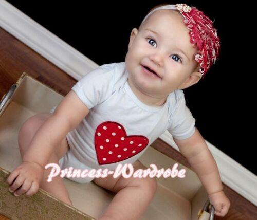Infant Newborn Baby Optional Jumpsuit Romper Red White Dots Heart Print NB-12M