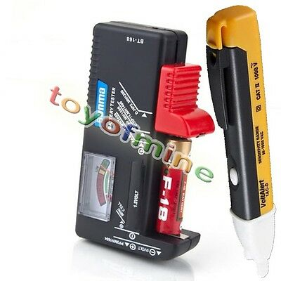 Non-Contact Voltage AC Alarm Electricity Detector +Battery Power Capacity Tester