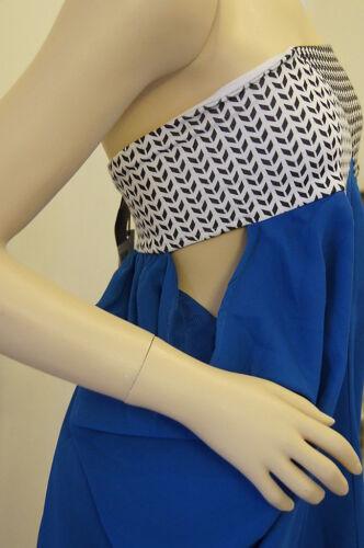 TOPSHOP Natalie Encarnita Blue Bandeau Party Dress Top Size 6 8 10 FREE P/&P E6