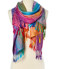 Triple Layer Pashmina /& Silk Paisley Shawl-Navy #D