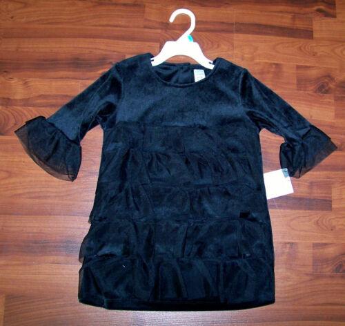 New Girls CARTER/'S Solid Black Velour Tiered Ruffles Long Tunic Shirt
