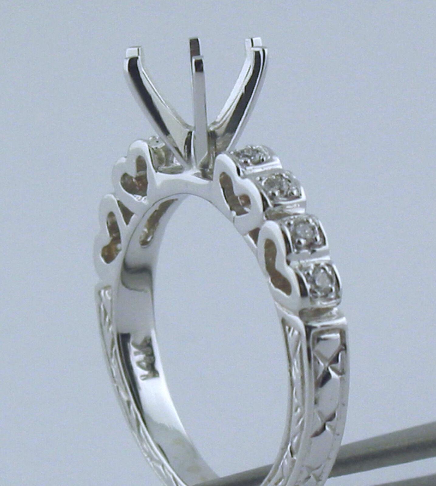 Heart Shape Diamond Semi Mount Ring For 1Ct Round Center Diamond 14K White gold