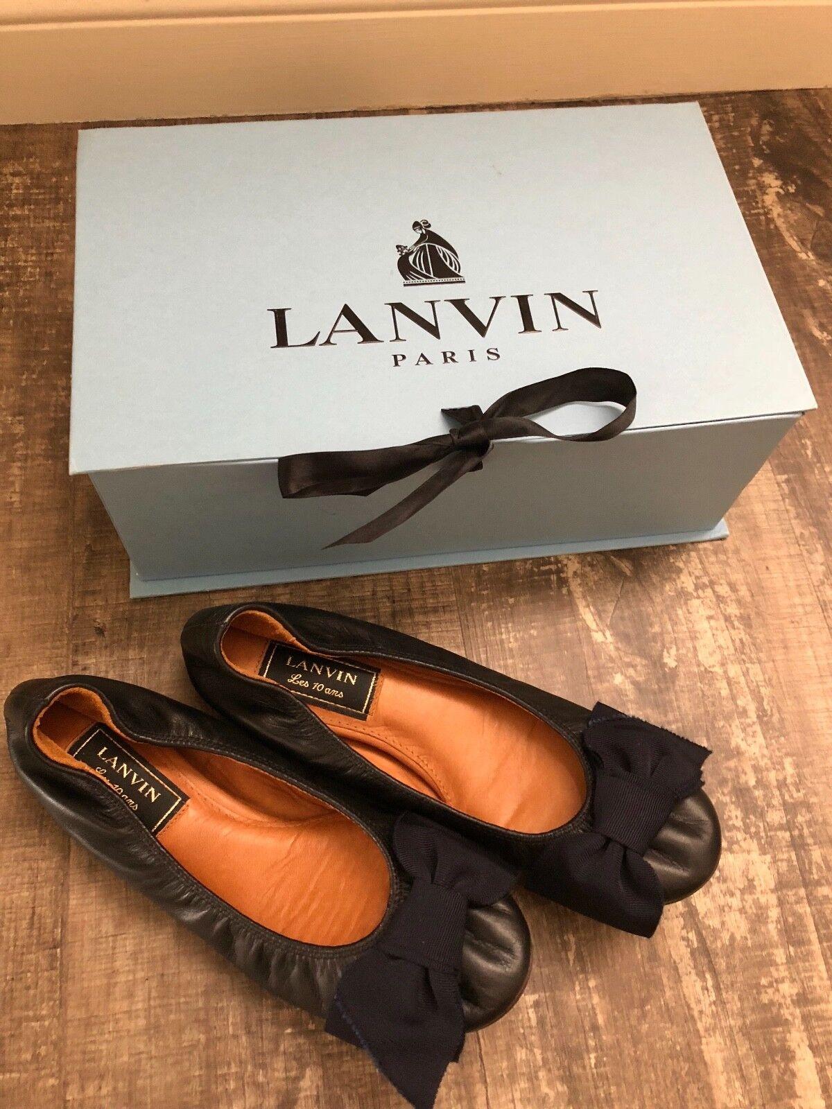 nuovo Authentic Lanvin nero leather classeic btuttiet flats 36