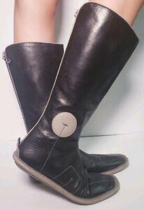 PRADA-Women-039-s-Black-Leather-High-Designer-Moccasin-High-Boots-Size-35-5