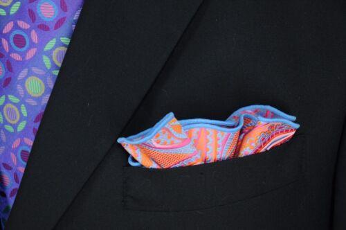 $75 Retail New Lord R Colton Masterworks Pocket Round Lerici Orange Silk