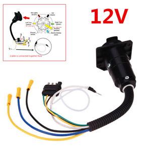 12v Wiring Adapter Plug 4 Pin Flat To 7 Pin Round Rv Blade Trailer Plug Towbar Ebay