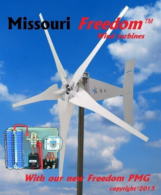 Wind turbine generator kit Missouri Freedom 24 volt 1700 watt 5 blade turbine