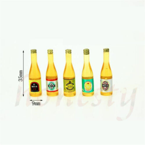 5pcs Mini Beer Champagne Wine Bottles Drink Dollhouse Home Pub Bar Decor Toys