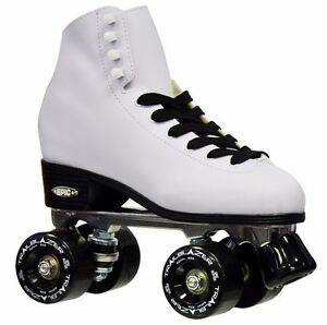 New-Epic-Classic-White-High-Top-Quad-Roller-Skates-w-Black-Outdoor-Wheels