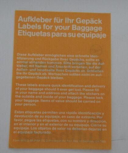 Aufkleber LUFTHANSA Kranich Logo Baggage-Label Gepäck Adressaufkleber 80er
